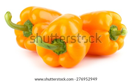 Fresh, sweet, orange bell peppers isolated on white background - stock photo