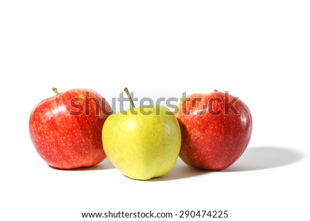 Fresh sweet ripe apples on white background