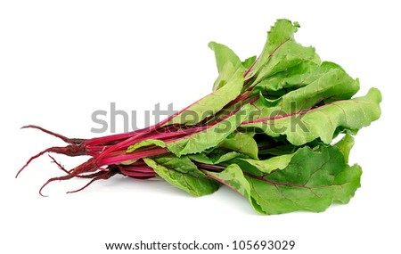fresh swiss chard with drops of water on a white background - stock photo