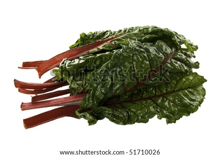 Fresh Swiss Chard with it's dark green leaves and bright red stems. - stock photo