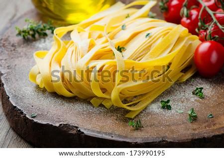 fresh tagliatelle - stock photo