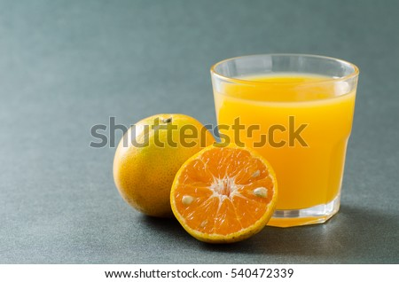 Fresh Tangerine orange fruit and juice,healthy food