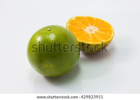 fresh tangerine orange isolated  on white background - stock photo