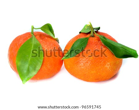Fresh tangerine with leaves isolated on a white background - stock photo