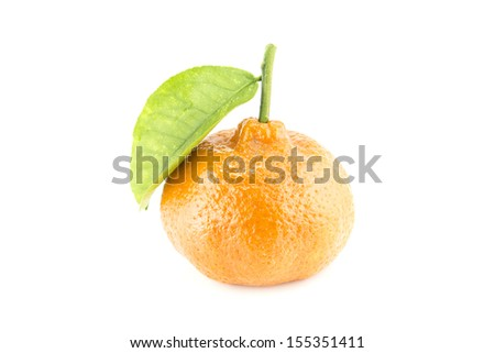 Fresh tangerine with leaves isolated on a white background  (with clipping work path) - stock photo