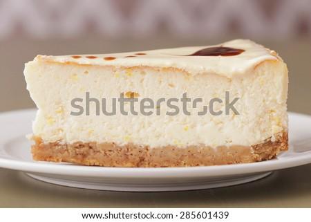 fresh tasty cheesecake closeup texture background - stock photo