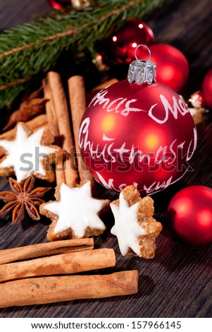 fresh tasty christmas cinnamon cookies and sticks decoration winter holiday