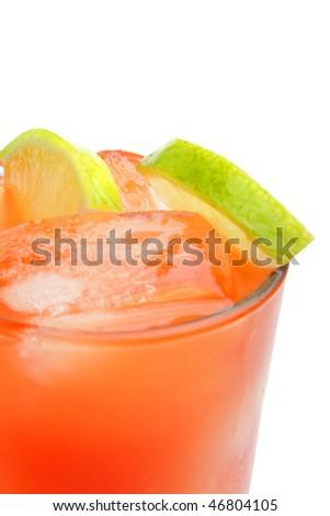 Fresh tasty coctail on white background (isolated) - stock photo