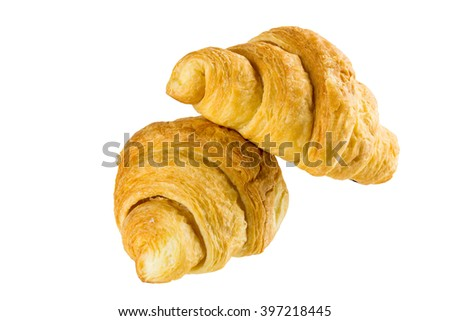 Fresh tasty croissant isolated on white background.