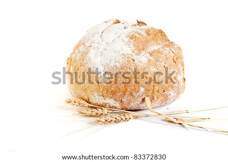 fresh tasty natural bread isolated on white background