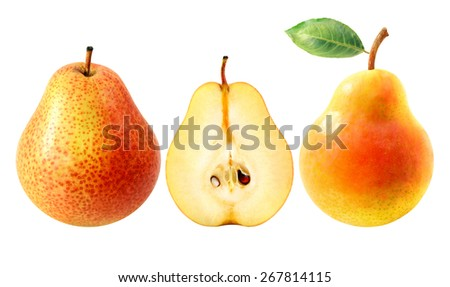 Fresh tasty pears isolated on white background