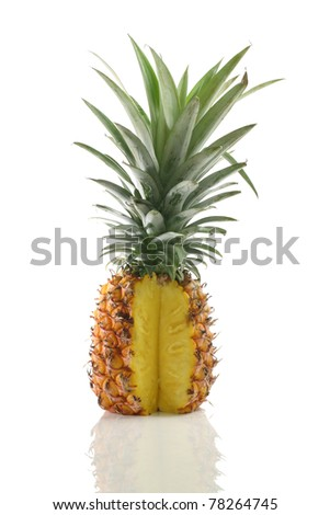 fresh tasty pineapple isolated on white background - stock photo
