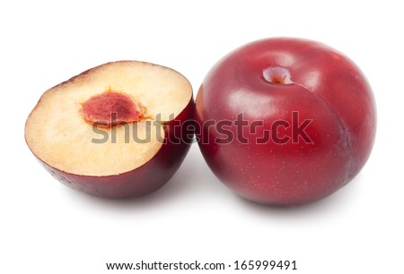 Fresh tasty plums isolated on white background