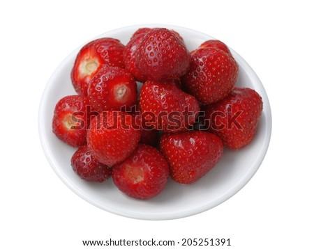 Fresh tasty strawberries on dessert plate isolated on white - stock photo