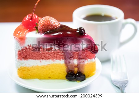 Fresh  tasty strawberry cake and coffe  isolated over white background - stock photo