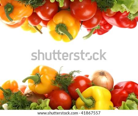 Fresh tasty vegetables isolated on white - stock photo