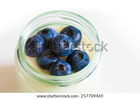 fresh tasty yogurt with blueberries food background healthy lifestyle medicine sight - stock photo