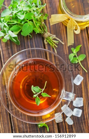 fresh tea with mint and honey