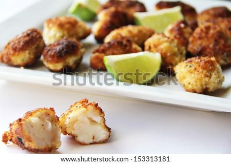Fresh tender lobster lightly fried in panko - stock photo