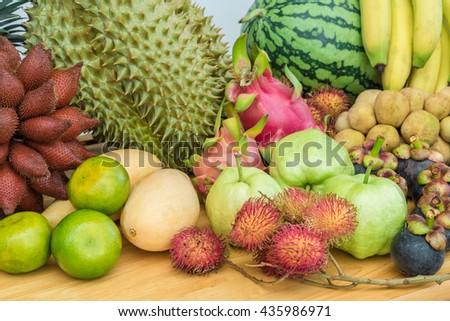 Fresh thai fruit mixed fruits background - stock photo