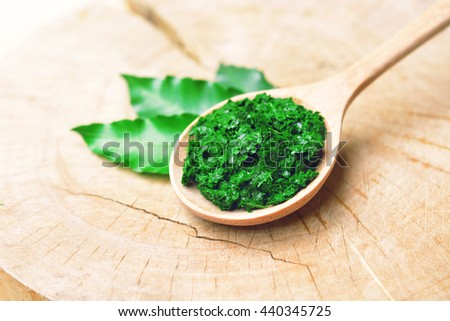 Fresh Thai herb mashed neem on wooden spoon with leaves on wooden background. - stock photo