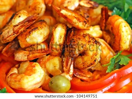 Fresh tiger shrimps to background - stock photo