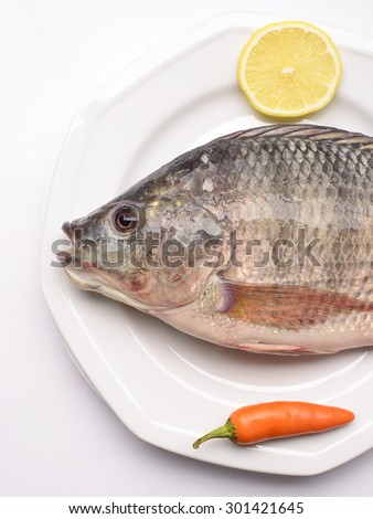 Fresh Tilapia with chilly and lemon on white plate - stock photo