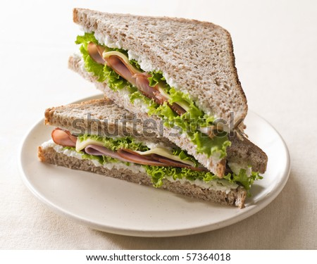 Fresh toast sandwich with ham and cheese close up shoot - stock photo