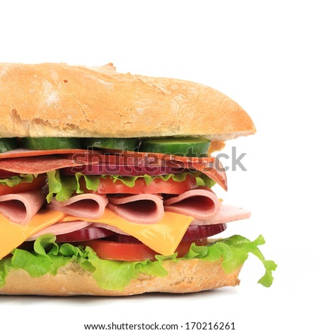 Fresh toast sandwich with ham and tomato. Whole background.
