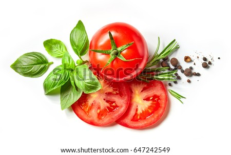 fresh tomato, herbs and spices isolated on white background, top view