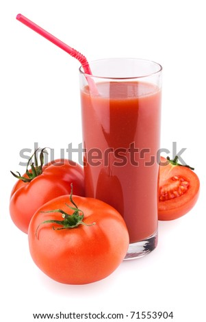 Fresh tomato juice and ripe tomatoes round glass with straw isolated on a white background.