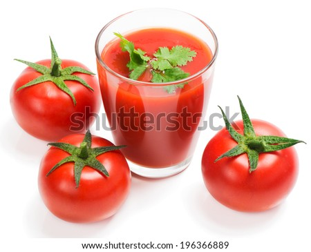fresh tomato juice and tomatoes, isolated on white, top view
