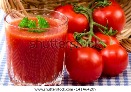 Fresh tomato juice with herbs