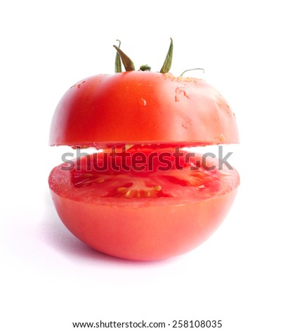 fresh tomato on a white background