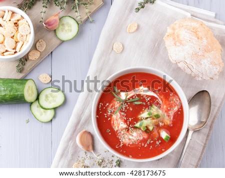 fresh tomato soup in a grey bowl - stock photo