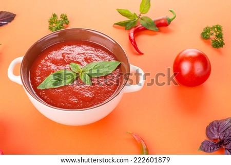 fresh tomato soup in a white bowl  - stock photo