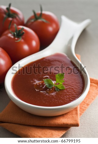 Fresh tomato soup in white spoon close up