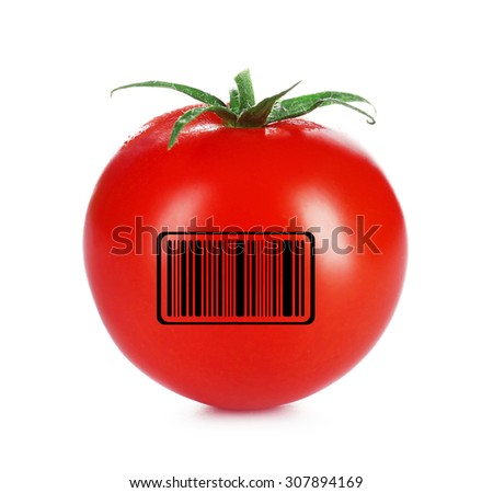 Fresh tomato with barcode isolated on white - stock photo