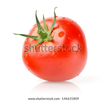 Fresh Tomato with Drops Isolated on White Background - stock photo