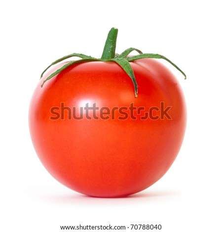 fresh tomato with shadow isolated on white - stock photo