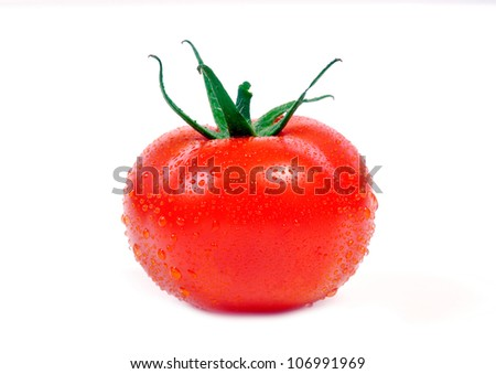 Fresh tomato with water drops on white background