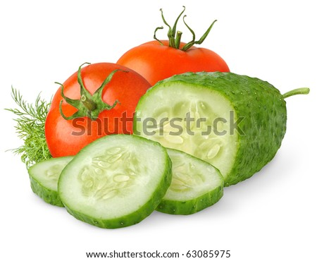 Fresh tomatoes and cucumber isolated on white