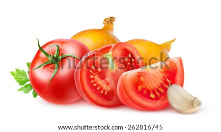 Fresh tomatoes and onions isolated on white background, with clipping path - stock photo