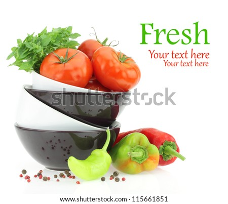 Fresh tomatoes and peppers - stock photo