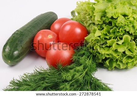 Fresh tomatoes, cucumber, dill and lettuce isolated - stock photo