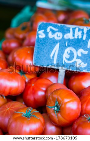 Fresh tomatoes for sale at a market