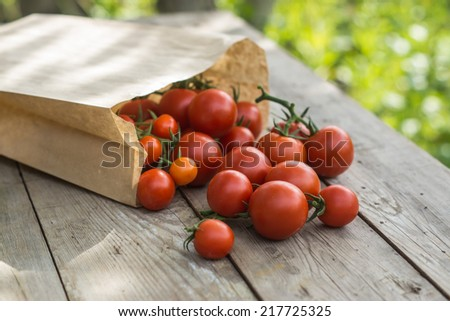Fresh tomatoes in a paper bag on a wooden background