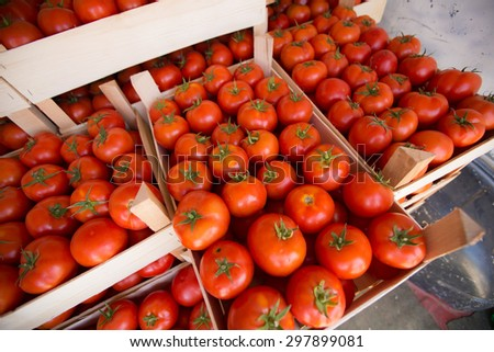 Fresh Tomatoes in crate at the Market