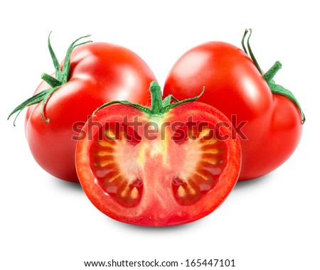 Fresh tomatoes isolated on white - stock photo