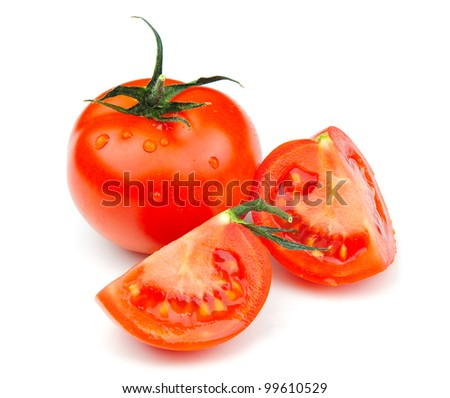 Fresh tomatoes isolated on white background - stock photo
